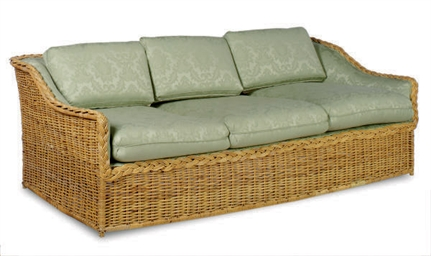 A RATTAN AND GREEN DAMASK UPHO