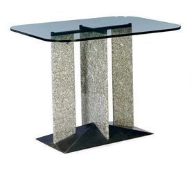 A MARBLE AND GLASS CENTER TABL