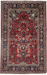 A pair of Kashan prayer rugs