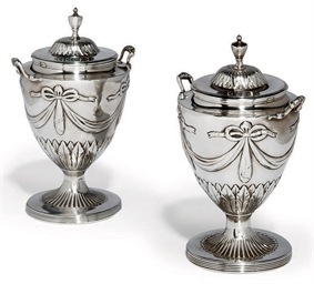 A PAIR OF GEORGE III SILVER SU