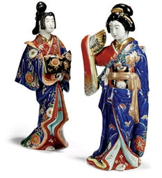TWO LARGE JAPANESE PORCELAIN F