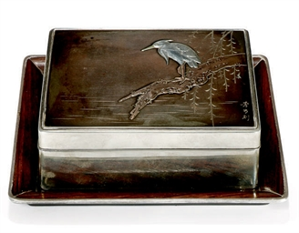 A JAPANESE SILVER AND WOOD BOX