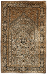 A fine silk Qum prayer rug
