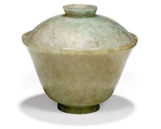 A CHINESE JADEITE BOWL AND COV