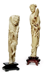 TWO CHINESE IVORY CARVINGS
