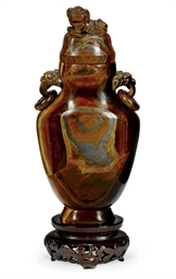 A CHINESE TIGER EYE VASE AND C