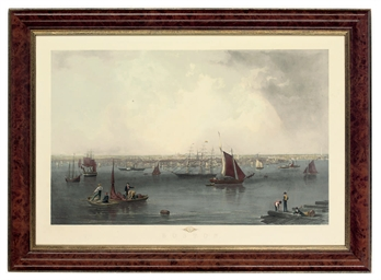 A COLOURED ENGRAVING OF BOSTON