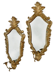 A PAIR OF VENETIAN GILT-WOOD A