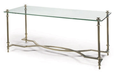 A FRENCH BRASS AND GLASS LOW-T