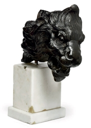 AN ITALIAN BRONZE LION MASK MO
