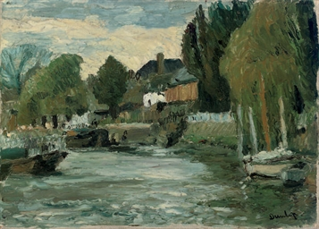 Moored boats beside a village