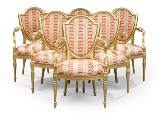 A SET OF SIX GILTWOOD ARMCHAIR
