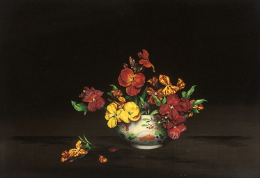 Wallflowers in a porcelain bow