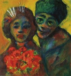 Mann und Frau (mit einem roten
