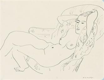Femme nue, étendue, les bras r