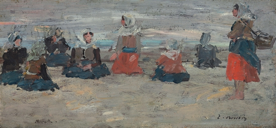 Pêcheuses assises sur la plage