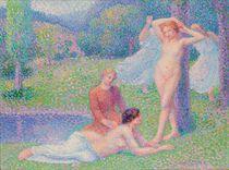 Femmes nues dans un paysage, danseuses dans le fôret