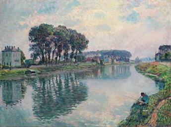 Pêcheur au bord de la Marne à