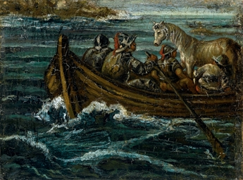 Traghetto con guerrieri e cava