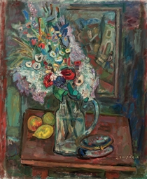 Still life with flowers and le