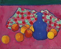 Blaue Vase mit Orangen