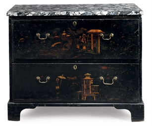 A GEORGE III JAPANNED CHEST