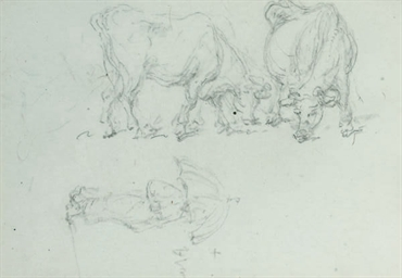 Study of cattle and a figure w