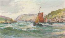 Fishing trawlers running into Salcombe harbour, Devon