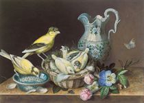 STILL LIFE OF TWO CANARIES, A NEST OF CHICKS, A BUTTERFLY, FLOWERS AND A JUG