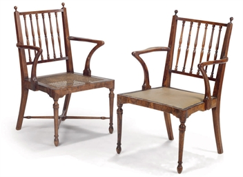 A NEAR PAIR OF GEORGE III YEW-