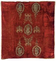 A RED-VELVET WALL-HANGING APPL
