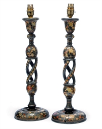 A PAIR OF KASHMIR LACQUERED WO