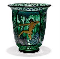 A MARCEL GOUPY (1886-1980) ENAMELLED GLASS VASE