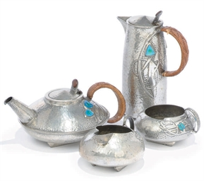 A FOUR-PIECE 'TUDRIC' PEWTER T