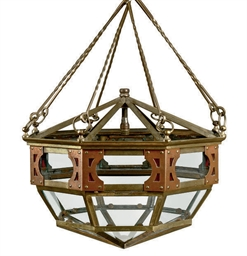 AN ART DECO BRASS OCTAGONAL CE