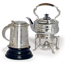A SILVER KETTLE-ON-STAND IN TH