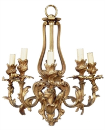 A FRENCH GILT BRONZE SIX-LIGHT