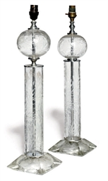 A PAIR OF ETCHED-GLASS TABLE L