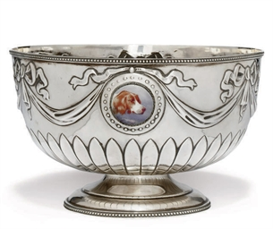 AN EDWARDIAN SILVER ROSE BOWL