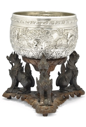 A BURMESE SILVER RICE BOWL ON