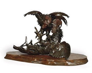 A JAPANESE BRONZE COCKEREL GRO