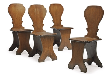 A SET OF FOUR GEORGE III OAK H
