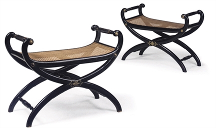 A PAIR OF EBONISED X-FRAME STO