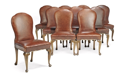 A SET OF TEN STAINED BEECH DIN