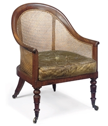 A LATE REGENCY MAHOGANY CANED