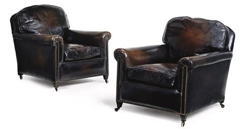 A PAIR OF LEATHER LIBRARY ARMC