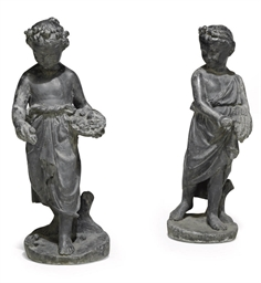 A PAIR OF LEAD MODELS OF CHILD