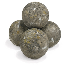 FOUR LIMESTONE BALL FINIALS