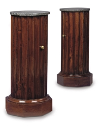 A PAIR OF WALNUT BEDSIDE CUPBO