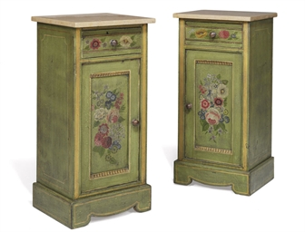 A PAIR OF GREEN PAINTED BEDSID